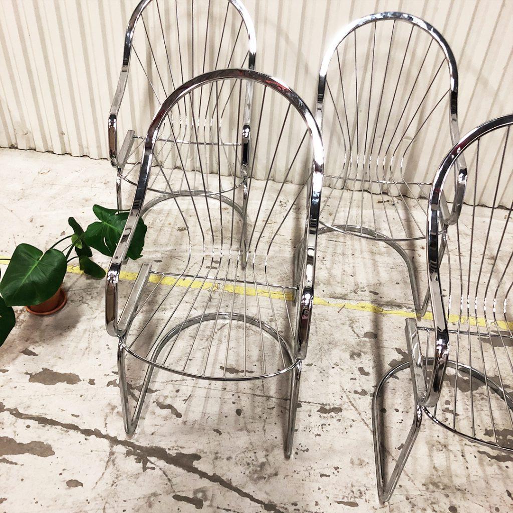 6 stolar metall krom
