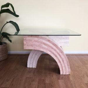 bord glas bågar rosa underrede