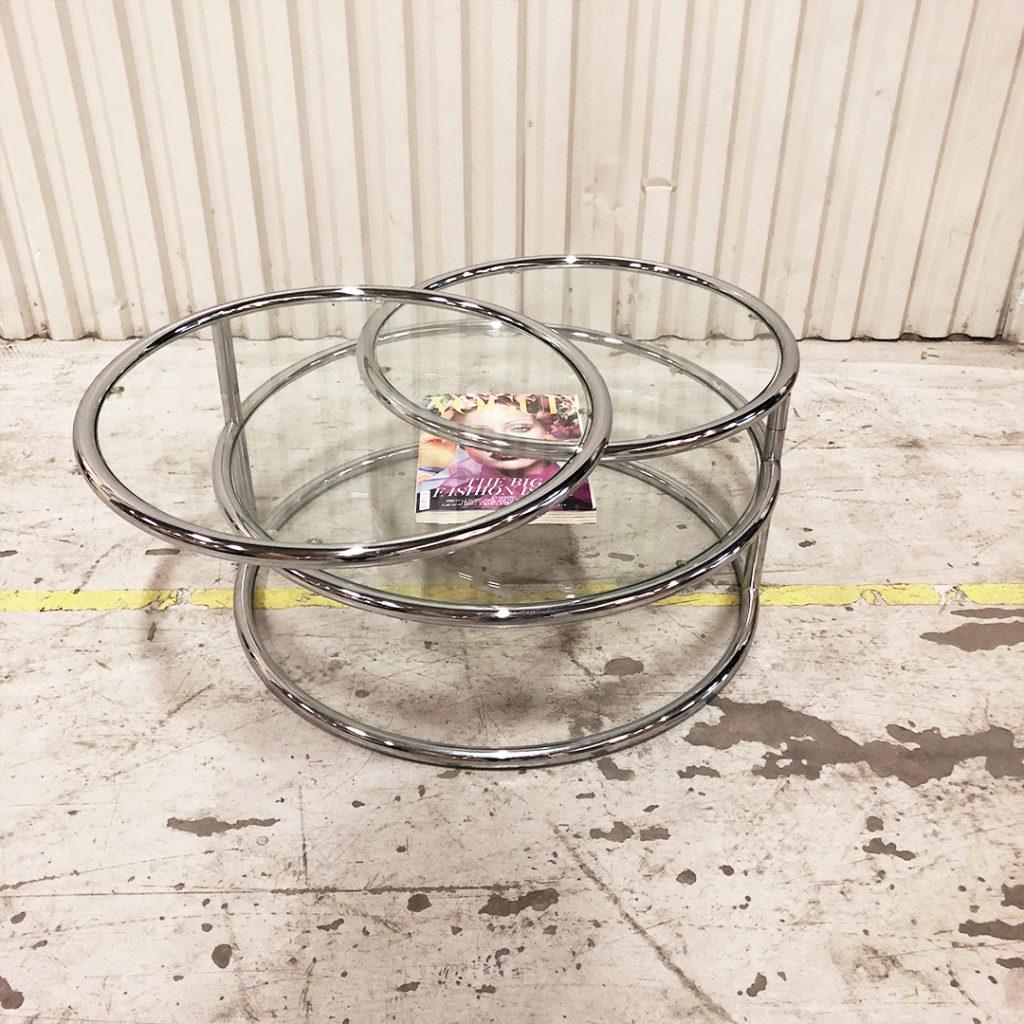 soffbobrd krom glas svängbart