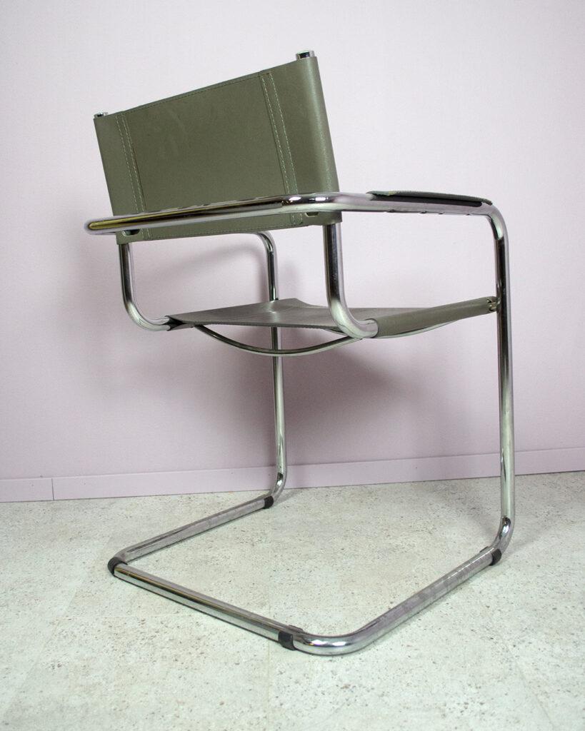 karmstol grå läder krom