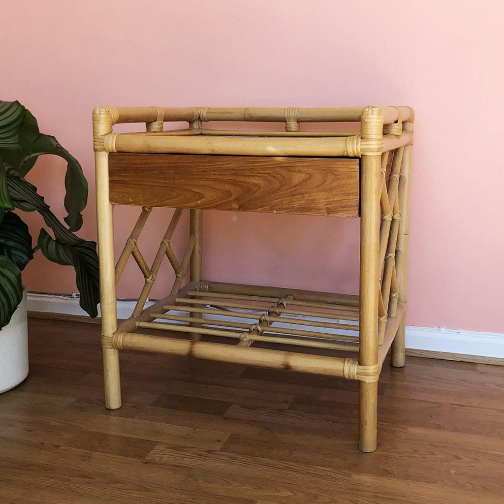 sängbord bambu teak