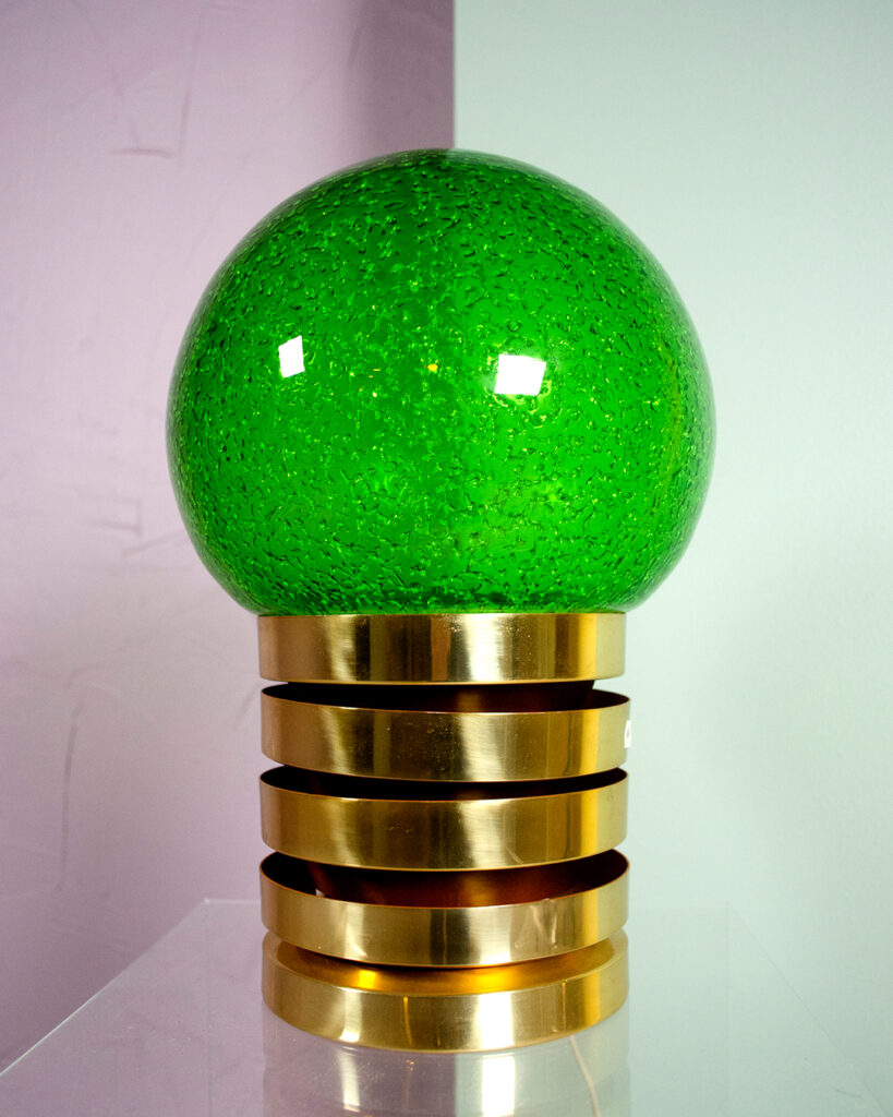 bordslampa fåglavik grön mässing
