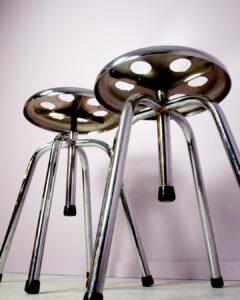 läkarpallar kromad metall